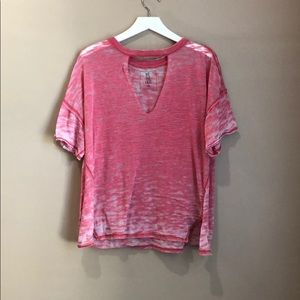 Free People Red Cut Out Tee